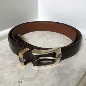 BRIGHTON ONYX brown croc embossed leather belt 40